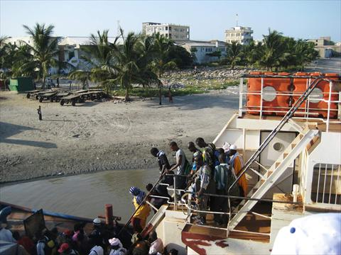 Passengers leaving the ferry