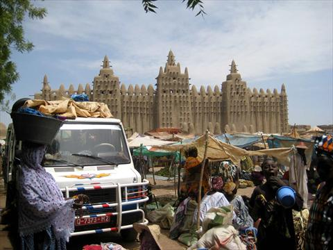 Busy market at the mosque